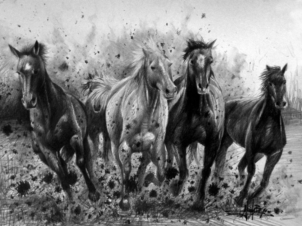 Dessin - Dessin cheval de course ...